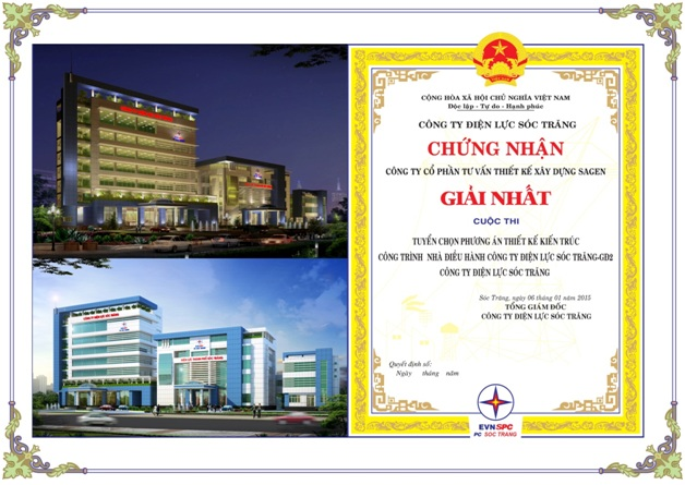On 27th and 28th January 2015-Sagen was awarded the first prizes for the Architectural Competition of designing Offices of Ca Mau Power Company and Management House of Soc Trang Power Company – Phase 2