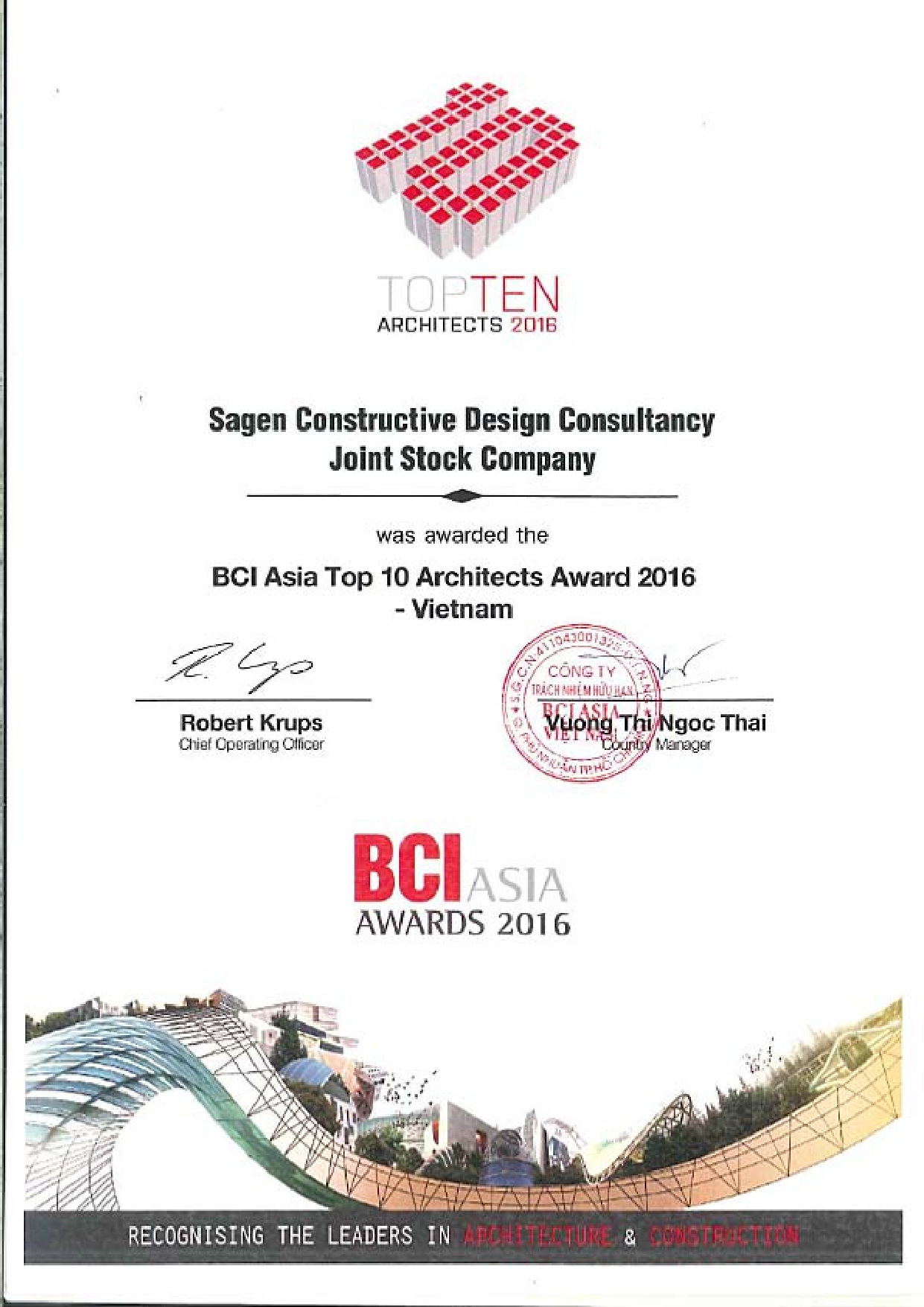 BCI ASIA TOP TEN ARCHITECTS 2015 - 2016
